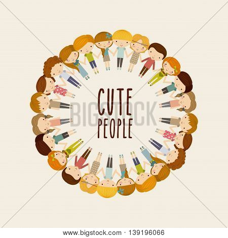 Little Kids and cute people concept represented by boys and girls icon. Colorfull and Pastel background.