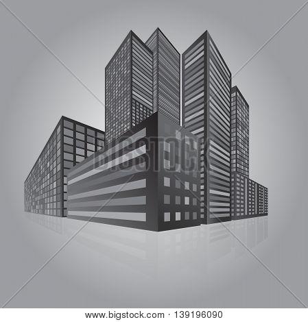 City perspective skycraper gray night vector illustration