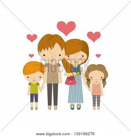 Family and cute people concept represented by parents and kids with hearts icon. Colorfull and flat illustration.