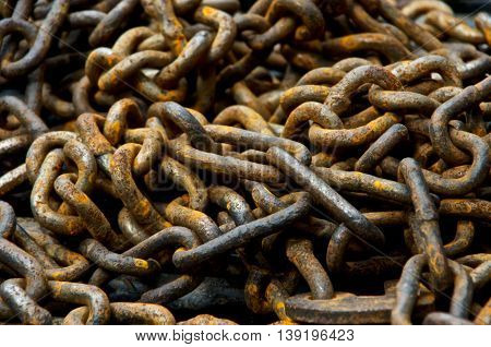 A pile of old rusty chain close up.