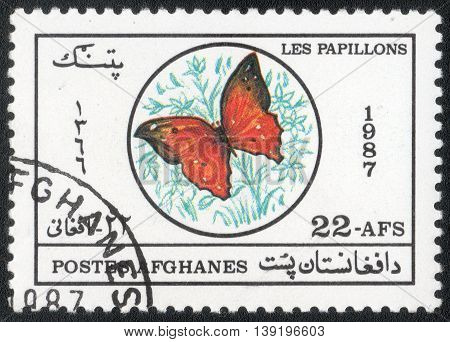 AFGHANISTAN - CIRCA 1987: A Stamp printed in Afghanistan shows a series of images