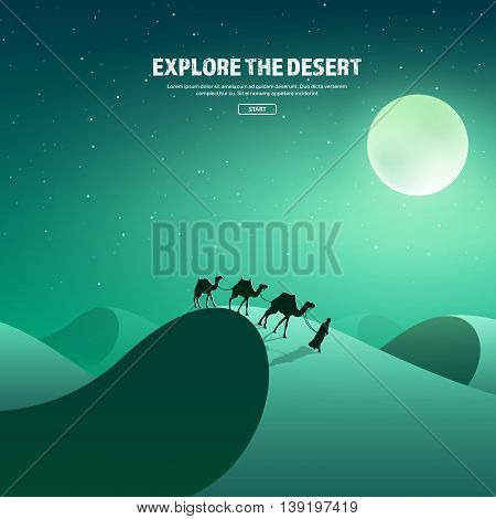 Desert trip. Extreme tourism and travelling. Back to nature. Sands.Exploring Africa with sky, stars. Camels