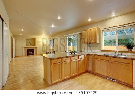 New Classic Wood Large Kitchen With Grey Counter Top