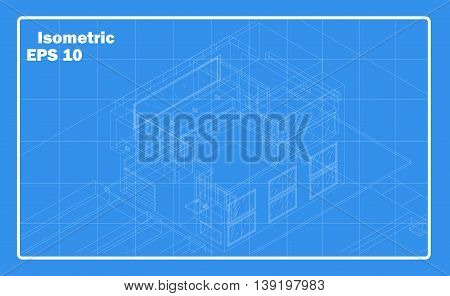 Isometric house outline. Schematic building vector illustration