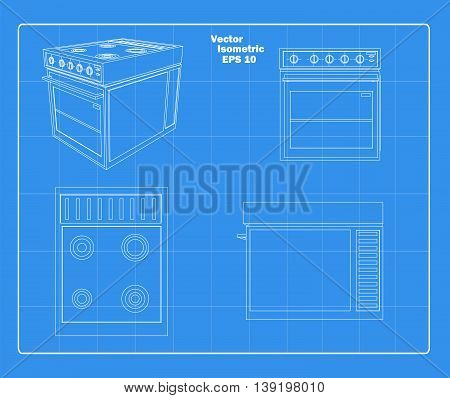 kitchen stove iso four view schematic vector illustration