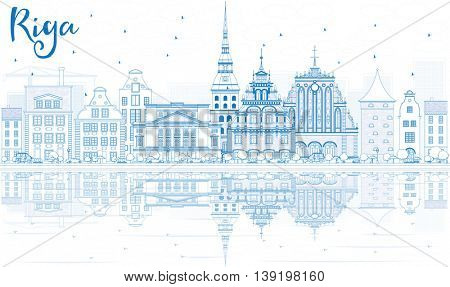 Outline Riga Skyline with Blue Landmarks and Reflections. Business Travel and Tourism Concept with Historic Buildings. Image for Presentation Banner Placard and Web Site.