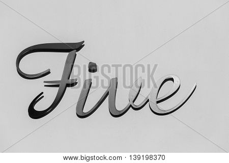 Number five sign metal plate decor black and white.