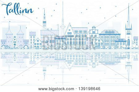 Outline Tallinn Skyline with Blue Buildings and Reflections. Business Travel and Tourism Concept with Historic Buildings. Image for Presentation Banner Placard and Web Site.