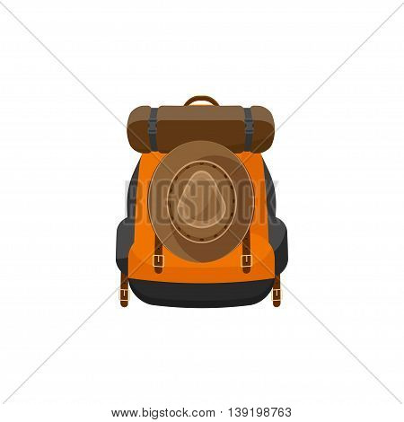 Backpack in a flat stzle. Vector illustration. School bag.Travel, camping or hiking. Tourism. Luggage
