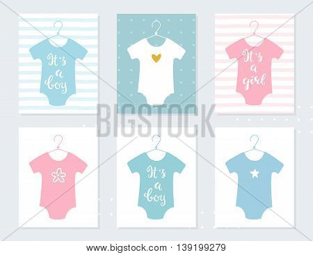 Babies Bodysuits Clothes on Hangers. Baby Announcement Vector Cards. It's a Boy. It's a Girl. Hand Lettering Signs