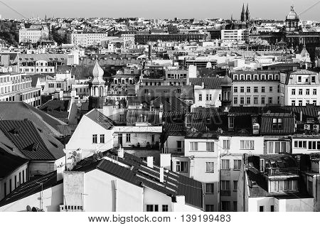 Prague roofs - view from the City Hall, travel european hipster background, black and white monochrome style