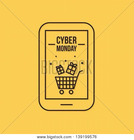 Modern vector cyber monday sale, shopping icon, illustration.