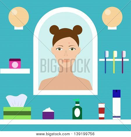 Teenager with problem skin looks in the mirror in the bathroom