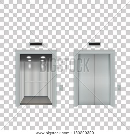 open and close office elevator vector eps
