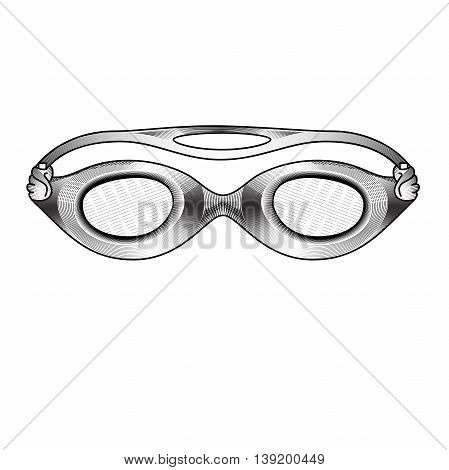 Clothes for swimmers. Sportswear. Clothes for Water Sports. Glasses for swimming an style of engraving. Hand drawn swimming goggles. Accessories for swimming