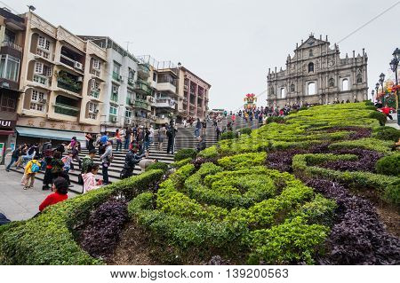 Senado, Macau - February 3, 2015: Ruins of St. Paul's are the ruins of a 16th-century complex in Macau including what was originally St. Paul