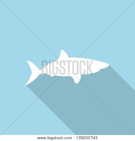 Shark icon with long shadow in a flat design