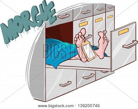 white background vector illustration of a morgue