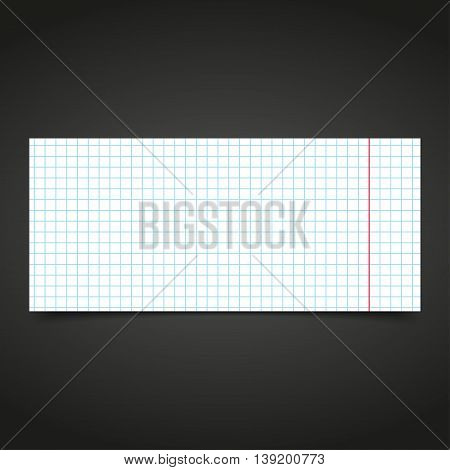 White graph paper sheet on a black background