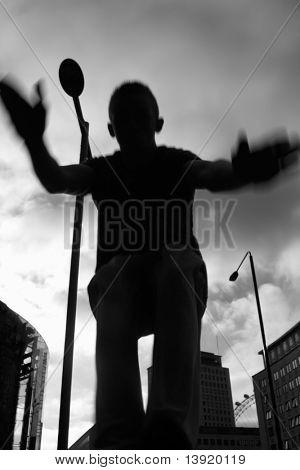 Teenage boy practicing free running