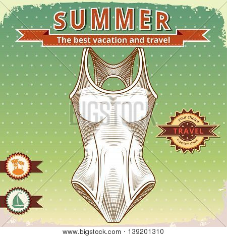 Swimsuit Vector stock image. Clothes for swimmers. Sportswear. Water Sports. Fashion illustration of swimsuits. Vector Summer vintage poster