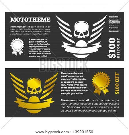 Motor skull shield design banner with discount and award icon