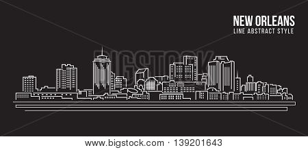 Cityscape Building Line art Vector Illustration design - New Orleans city