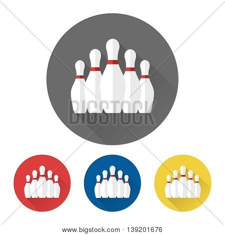 Flat skittles set bowling colorful icons vector