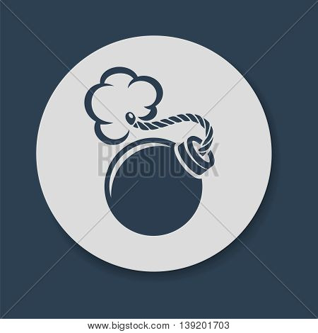 Flat bomb with fuse icon vector illustration