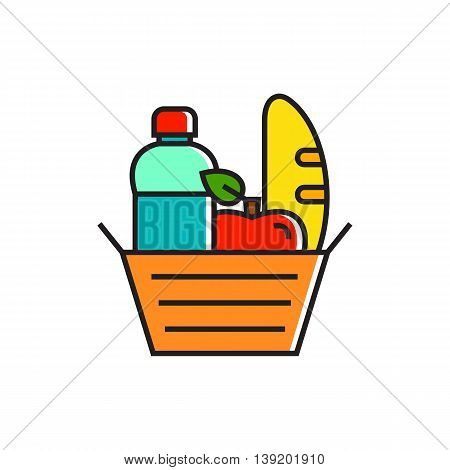 Illustration of basket with apple, bread and bottle of water. Picnic basket, food, summer, park. Food concept. Can be used for topics like food, picnic, park