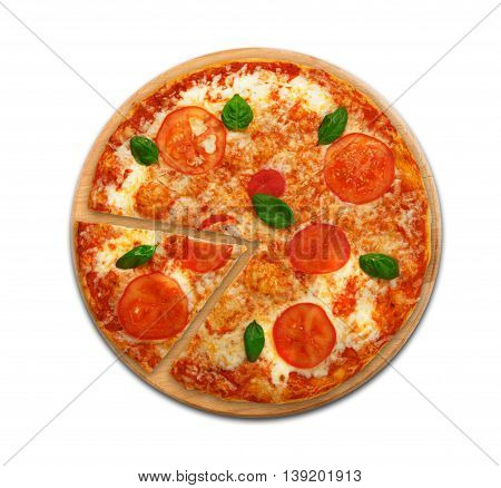 Delicious italian vegetarian pizza Margherita with tomato and cheese, thin pastry crust and one piece cut. Fast food top view on round wooden desk isolated at white background