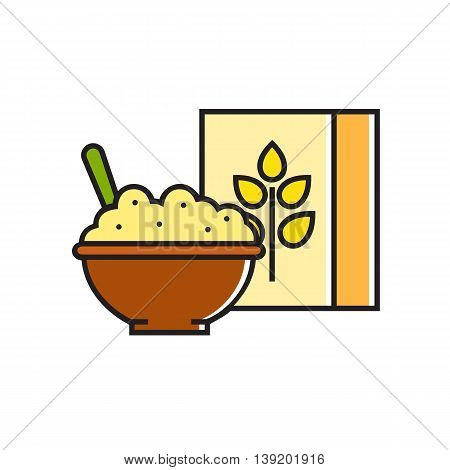 Illustration of bowl with porridge and carton package. Healthy food, breakfast, cooking. Food concept. Can be used for topics like food, cooking, breakfast