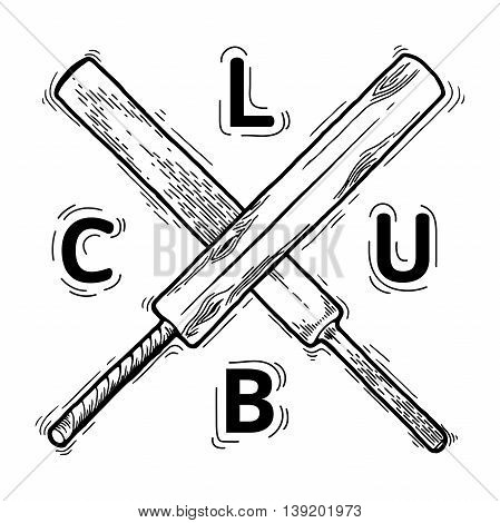 Cricket bat. cricket bat vector. cricket bat isolated. Doodle style. Equipment for cricket vector illustration isolated on white background an engraving style. Cricket logo