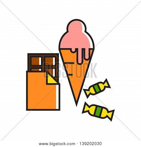 Illustration of sweets, chocolate bar and ice-cream. Food, dessert, treatment. Sweets concept. Can be used for topics like sweets, food, dessert