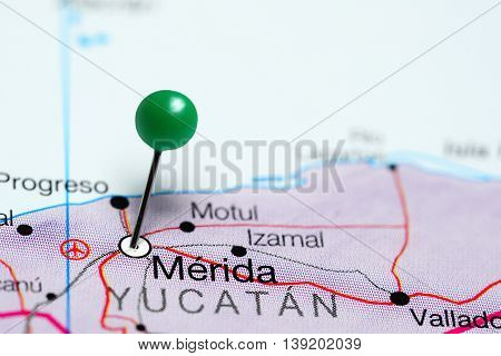 Merida pinned on a map of Mexico