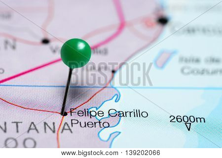 Felipe Carrillo Puerto pinned on a map of Mexico