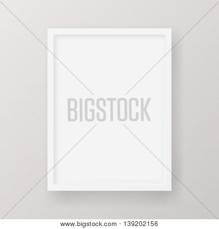 Realistic Empty White Picture Frame - Realistic empty white picture frame, isolated on a neutral gray background. EPS10 Vector