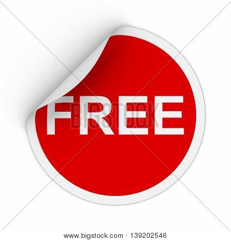 Free Text Red Circle Sticker With Peeling Corner 3D Illustration