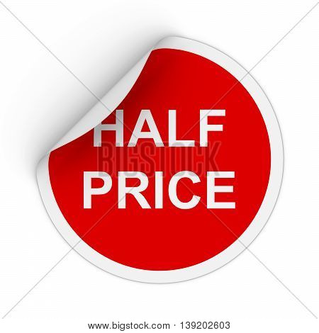 Half Price Text Red Circle Sticker With Peeling Corner 3D Illustration