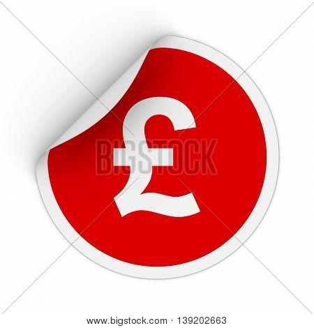 Pound Symbol Red Circle Sticker With Peeling Corner 3D Illustration