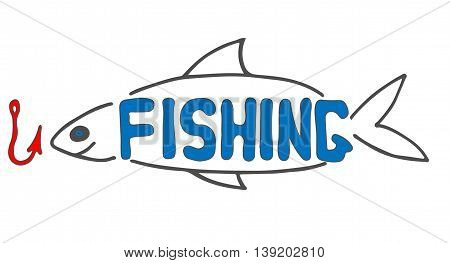 Fishing sign with fish and hook isolated on the white background