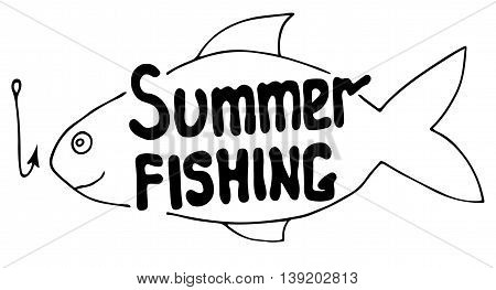 Summer fishing sign with abstract fish and hook isolated on the white background