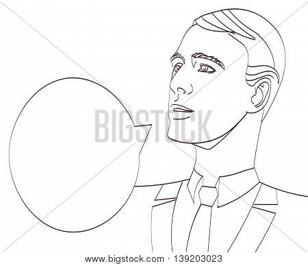 vector art of businessman with speech bubble. Lineart isolated eps 10.