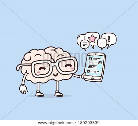 Vector illustration of retro pastel color smile pink brain with glasses holding phone on blue background. Creative cartoon brain concept. Doodle style. Thin line art flat design of character brain for mobile communication theme