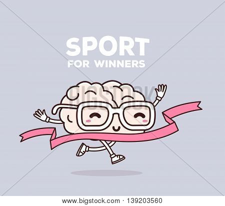 Vector illustration of retro pastel color smile pink brain with glasses runs through the tape to win on gray background. Creative cartoon brain concept. Doodle style. Thin line art flat design of character brain for sport win theme