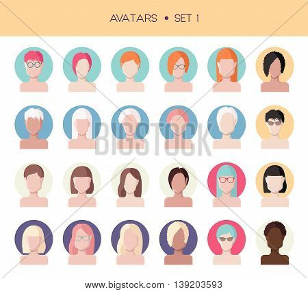 Vector set of avatars, woman faces flat style, abstract face icons with different hairstyles