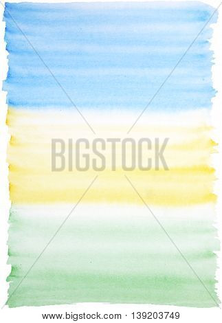 Light watercolor background in blue yellow and green colors