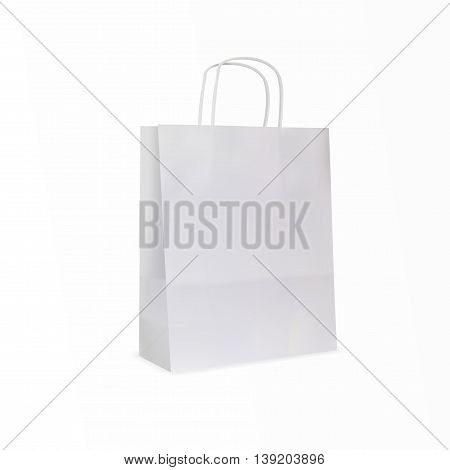 white paper bag on white background isolated eps