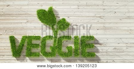Veggie made of grass on white wood background