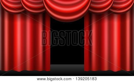 red theatre curtain realistic isolated eps10 vector